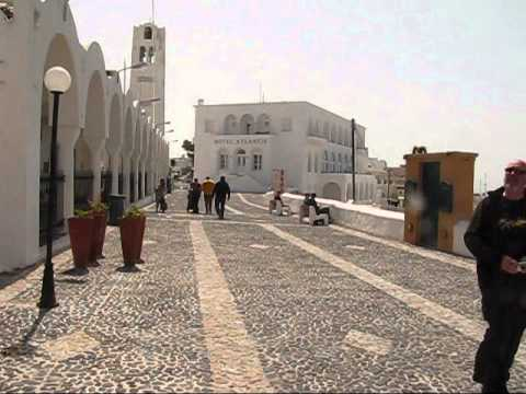 Fira,the capital of Santorini, the volcano and the Fabrica shopping center.