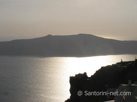 Thirasia as seen from Imerovigli during sunset